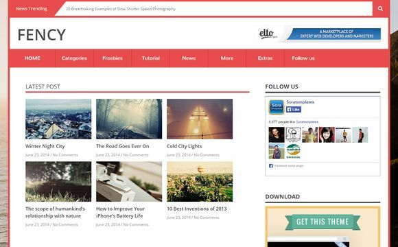 Fency Blogger Template Premium Version
