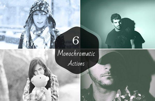 6 Premium Monochromatic Photoshop Actions