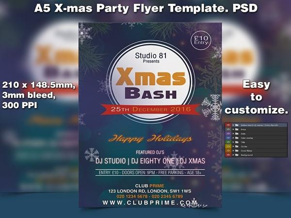 X-mas Flyer Template 4 (A5 PSD)