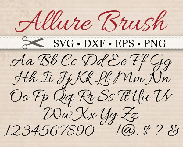 ALLURE BRUSH SCRIPT SVG File, Calligraphy Font Monogram SVG, DXF, PNG, EPS