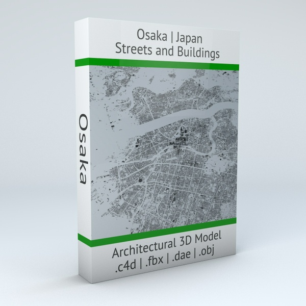 Osaka Streets and Buildings Architectural 3D Model