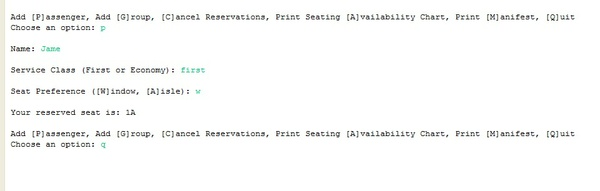 Airplane seat reservation system in java with full source code