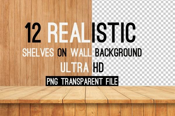 Freebies 12 Realistic Shelves on Wall Background