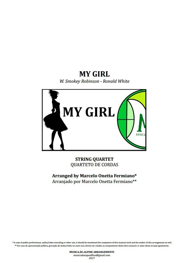 My Girl | The Temptations | String Quartet | Score and Parts Download