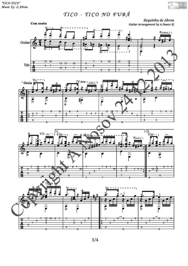 Tico-Tico no Fuba (Z.Abreu) Sheet music for guitar