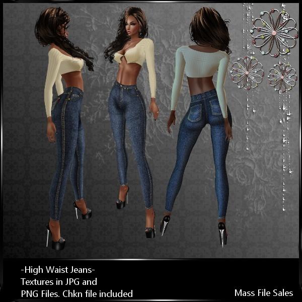 IMVU Textures High Waist Jeans Dark