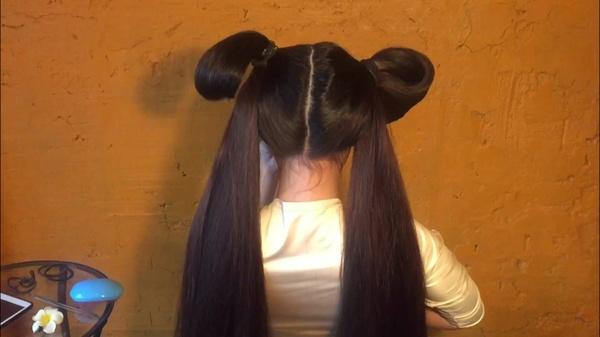 Hair show from Mila- bun, buns, ponytails, braids.