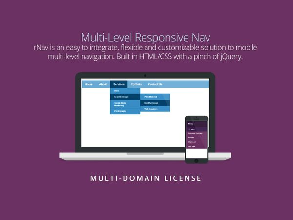 rNav - Multi-Level Responsive Nav (Multi Domain License)