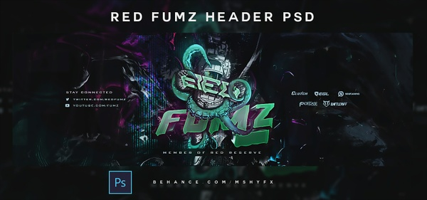 Red Fumz Header PSD