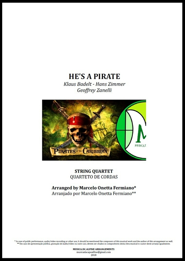 He's a Pirate | Klaus Badelt | Quarteto de Cordas | Partitura Completa Download