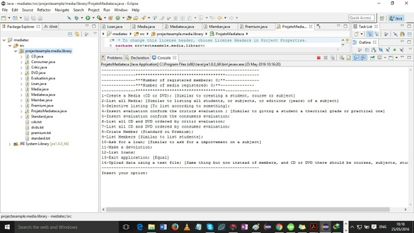 Application that allows to run a mediateca (media Library)