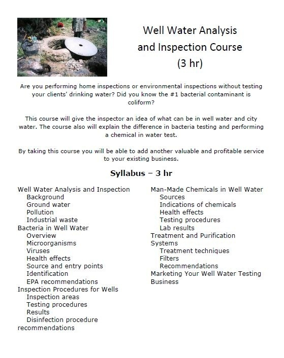 Well Water Inspection & Analysis Certification Course