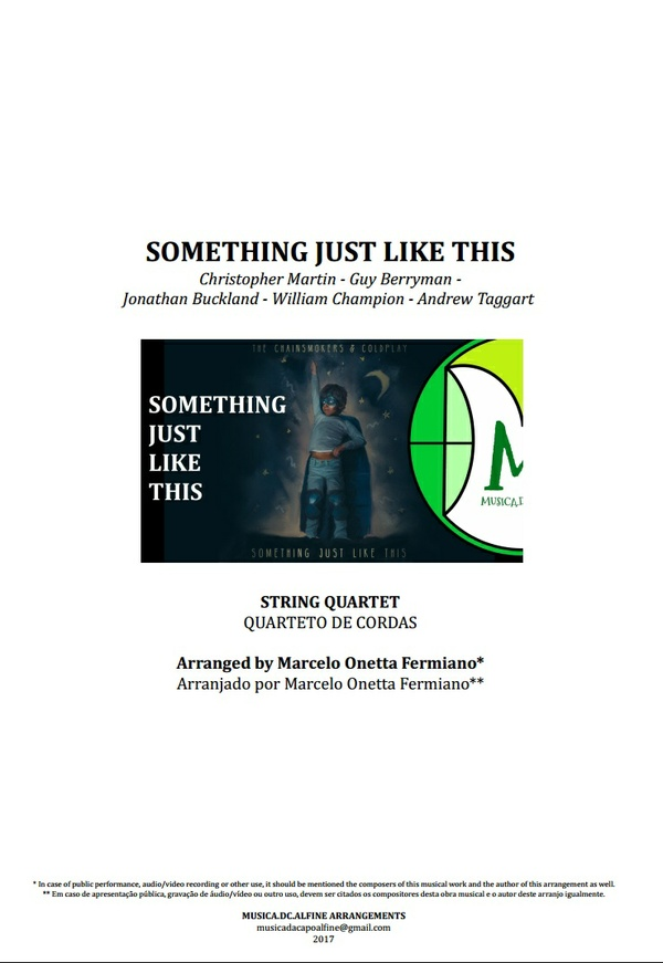 Something Just Like This | The Chainsmokers & Coldplay | String Quartet | Score and Parts