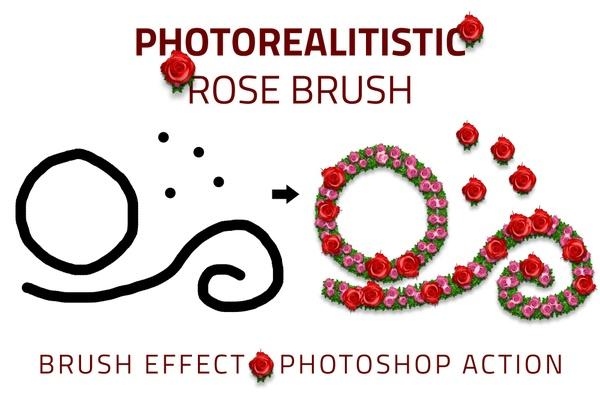 Photorealistic Rose Brush Effect