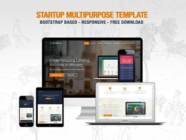 Startup One Page Landing Page Bootstrap HTML5 CSS3