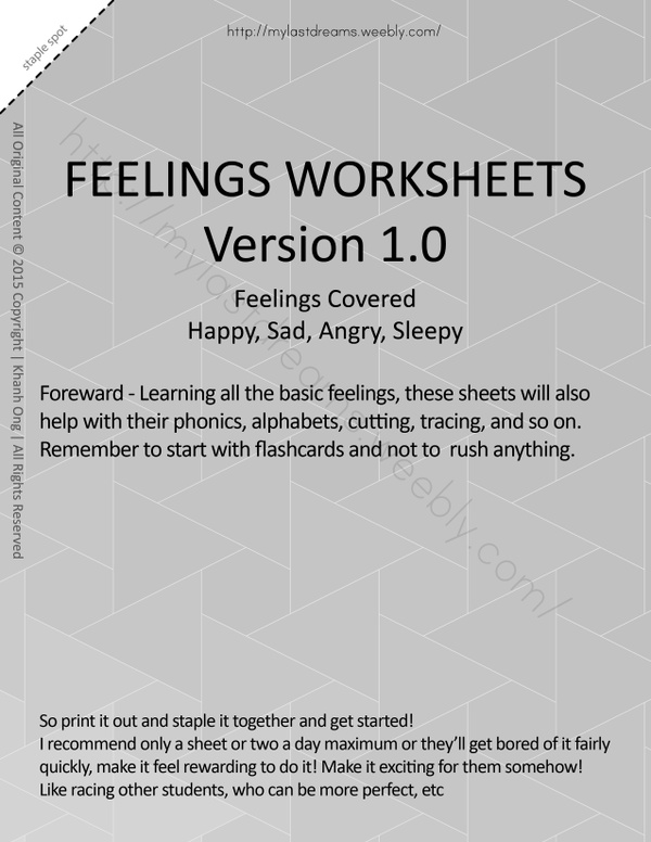 MLD - Basic Feeling Worksheets - Part 1 - Letter Sized