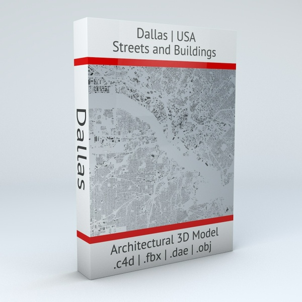 Dallas Streets and Buildings Architectural 3D Model
