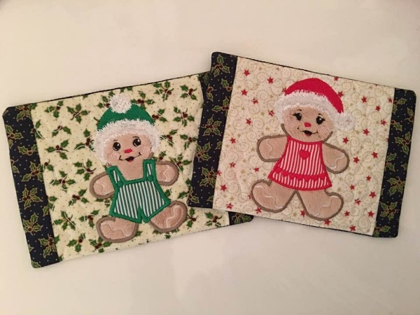 NNC ITH Gingerbread Boy and Girl Mug Rugs in all popular formats for the 5x7 hoop