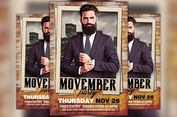 Movember Party Flyer Template
