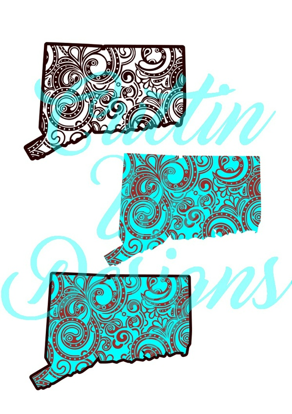 Connecticut Paisley Patterned States One color and Layered SVG for Cricut or Cameo