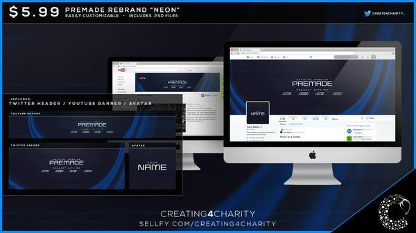 """""""Neon"""" pre-made social media re-brand"""