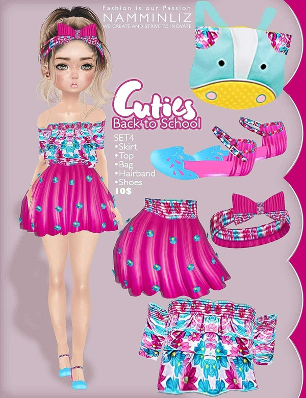 Cuties Back to School SET 4 ( Top + Skirts + Shoes + Accesories + Bag)