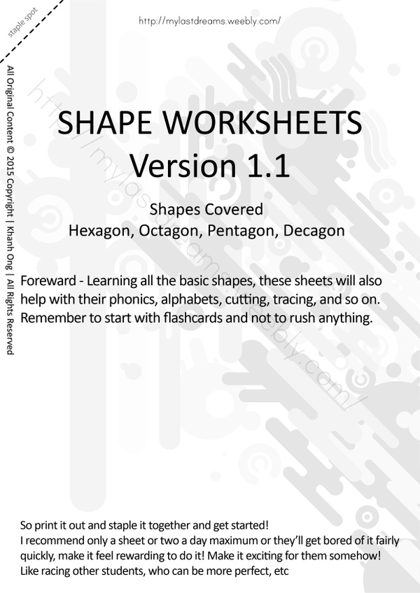 MLD - Basic Shapes Worksheets - Part 3 - A4 Sized