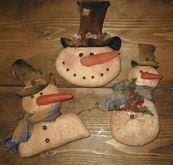 #451 Primitive Snowman trio e pattern
