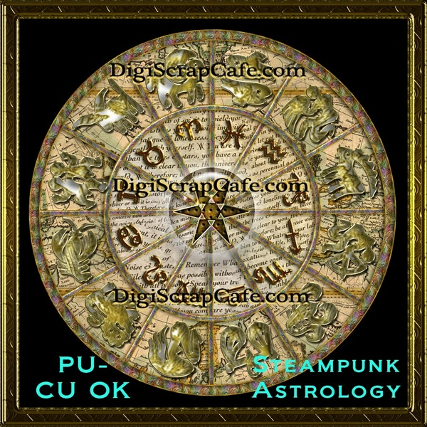 Steampunk Astrology Wheel Element Transparent Full Size PSD Template Commercial Use