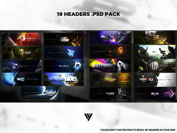 19 Headers .PSD Pack
