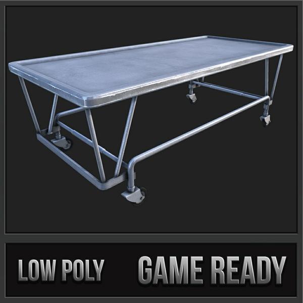 Old Hospital Steel Gurney | 3D Low Poly Model