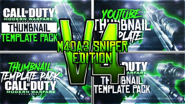 Modern Warfare Remastered - M40A3 Sniper Rifle Edition - Thumbnail Template Pack V4 - Photoshop