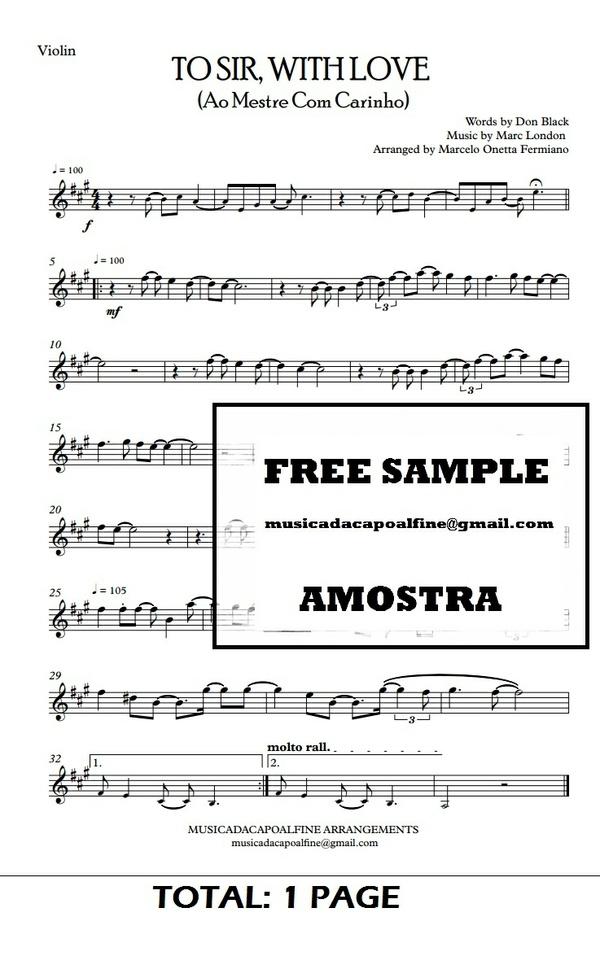 TO SIR, WITH LOVE - Ao Mestre com Carinho - Violin -Sheet Music Pdf Download