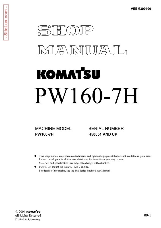Komatsu PW160-7H Hydraulic Excavator (H50051 and up) Shop Manual - VEBM390100