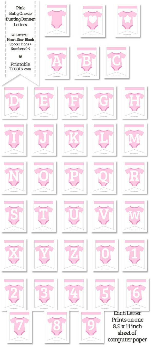 Pink Baby Onesie Bunting Banner Letters Download