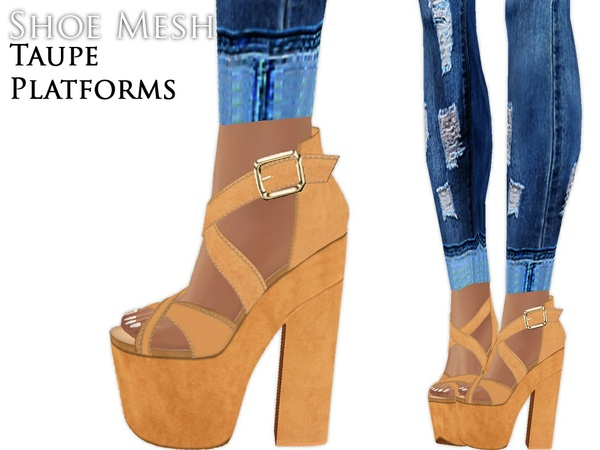 IMVU Mesh - Shoes - Taupe Platforms