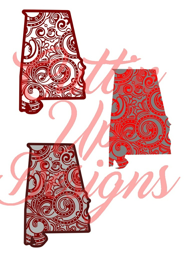 Alabama Paisley Patterned States One color and Layered SVG for Cricut or Cameo