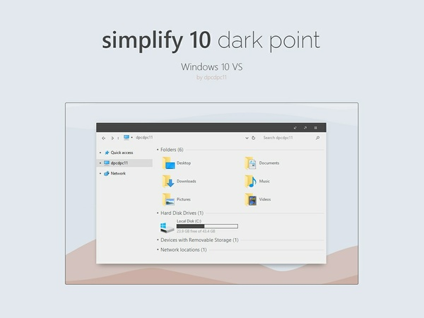 Simplify 10 Dark Point - Windows 10 Theme