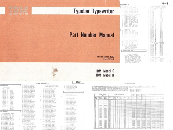 IBM S241-5230-2 Typewriter Models C & D Part Number Manual