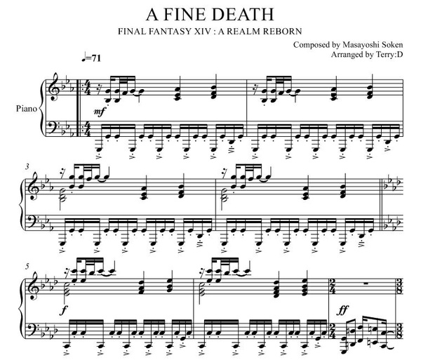"""A Fine Death(Arr.by Terry:D)"" for piano solo from FFXIV"
