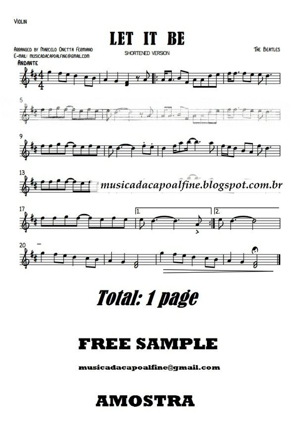 LET IT BE - Violin - Sheet Music Download.pdf