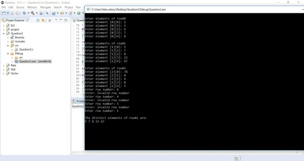 C program that prompts for and reads a 2D-array Of size 3 * 5 rowise Solution