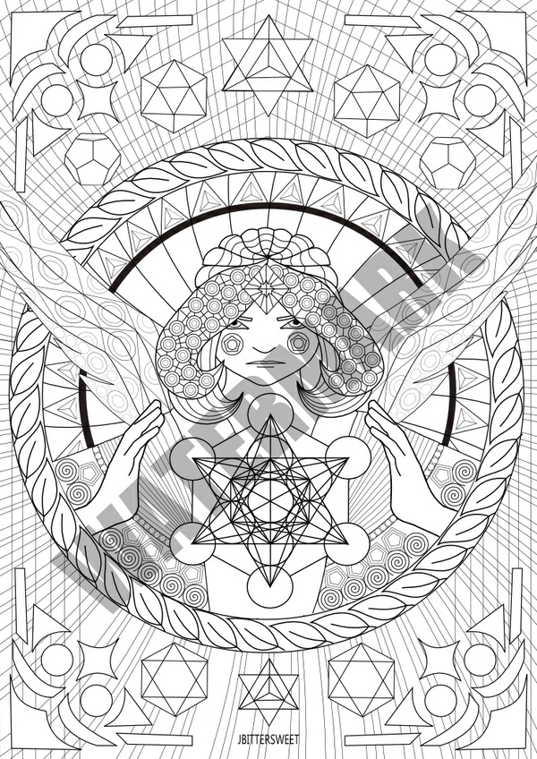 Mandala Coloring Printable Sheet with Archangel Metatron's Cube