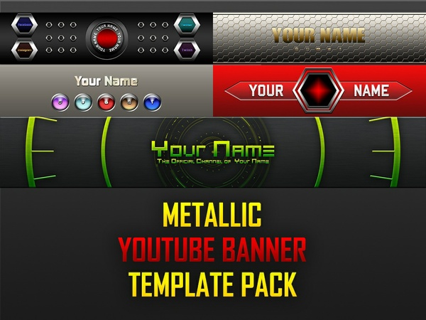 Metallic YouTube Banner Template Pack