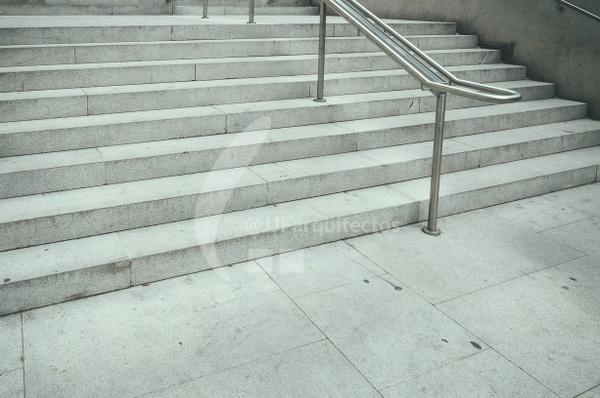 Empty public staircase