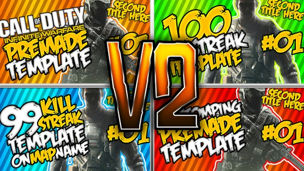 Infinite Warfare Thumbnail template Pack V2 - Pubstomping Edition - Photoshop Template