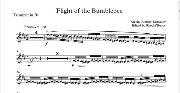 Rimsky-Korsakov Flight of the Bumblebee Bb Trumpet solo sheet music and mp3 accompaniment