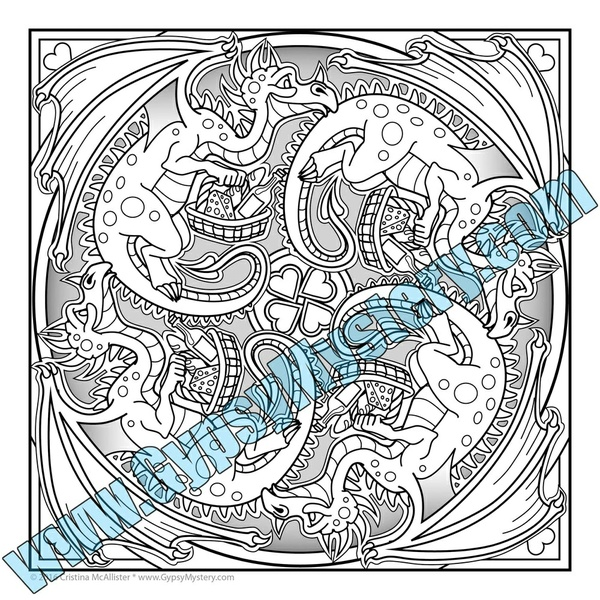 "FREE Sample: ""Dragon's Date"" Mandala Coloring Page from the Mandala Carnival Collection"