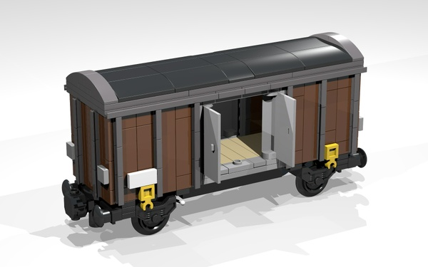 LEGO Building Instructions for a 4-Wheel Box Wagon (brown)