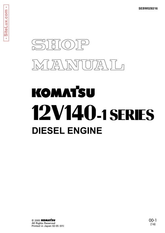 Komatsu 12V140-1 Series Diesel Engine Shop Manual - SEBM028316